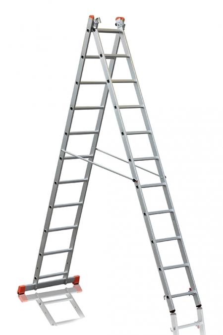 """Трехсекционная лестница алюминиевая бытовая Эйфель """"Премьер"""" 3Х11"""