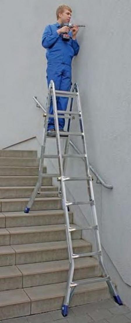 Профессиональная шарнирная телескопическая лестница 4х4 Krause Stabilo