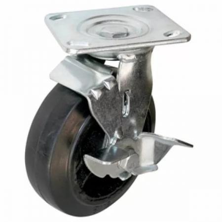 Колесо большегрузное, обрезиненное с тормозом серии SCDB - 160 мм. (арт. 560150B)