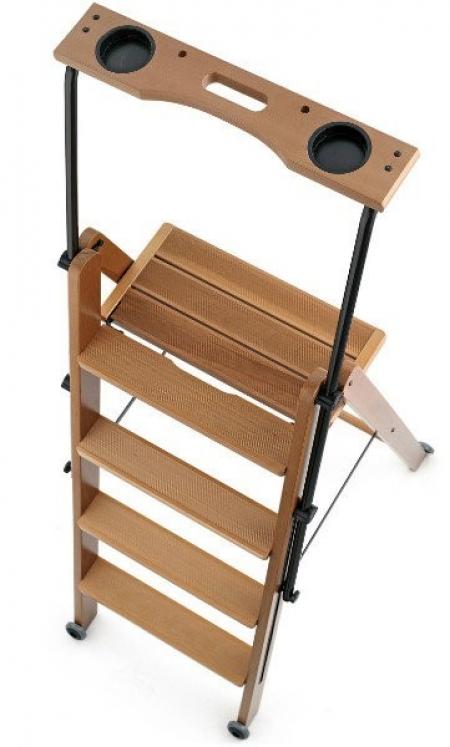 Деревянная лестница - стремянка 5 ступеней Tuscania, вишня (арт. 170/5V)