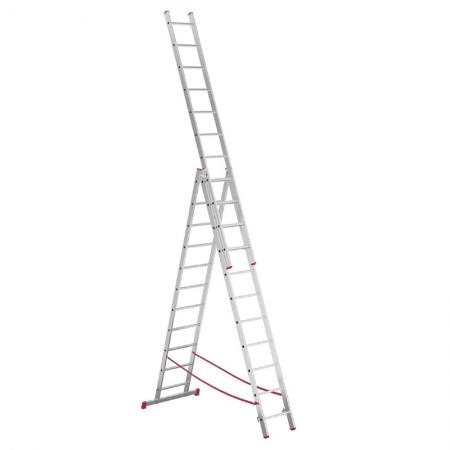 Алюминиевая 3-секционная лестница-стремянка Alpos 3Х11