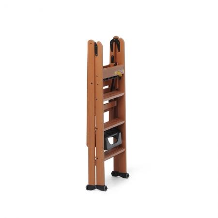 Стремянка деревянная Lascala 4 ступени, цвет орех (арт. LS4O)