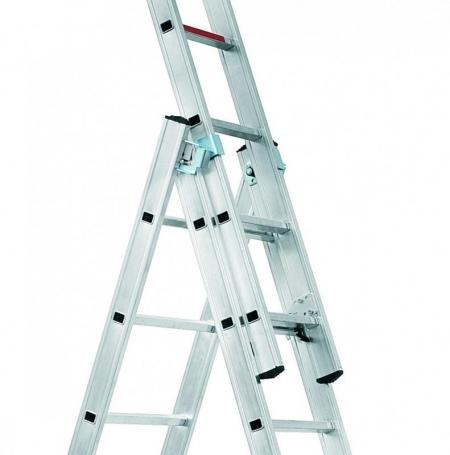 ALPOS Алюминиевая 3-секционная лестница-стремянка 3Х9 ступ. (арт. 3809)