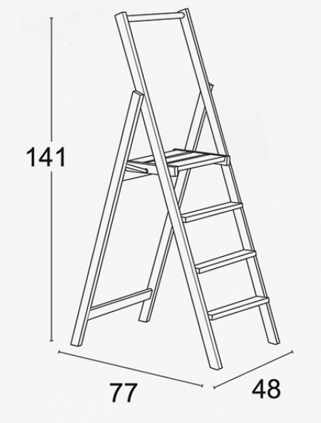 Стремянка Kimora 4 ступени, вишня (арт. 180/4V)