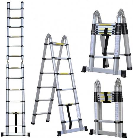 Телескопическая лестница-стремянка 6.40 м 2х9 ступ.