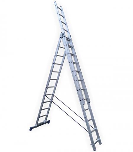 Универсальная трехсекционная лестница с усиленным профилем 3х13 ступеней СТАИРС