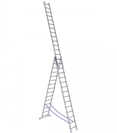 Универсальная трехсекционная лестница с усиленным профилем 3х15 ступеней СТАИРС