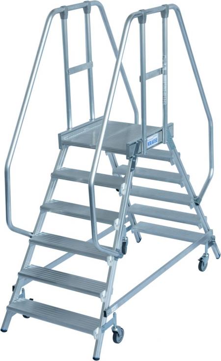 KRAUSE Stabilo Двухсторонняя передвижная лестница с платформой 2х6 ступ. (арт. 820266)