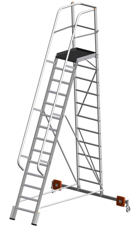 KRAUSE Stabilo Vario Kompakt Лестница с платформой 10 ступ. траверса 2000 (арт. 833358)