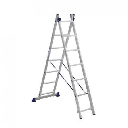 ALUMET Алюминиевая двухсекционная лестница 2Х7 ступ. (арт. 5207)