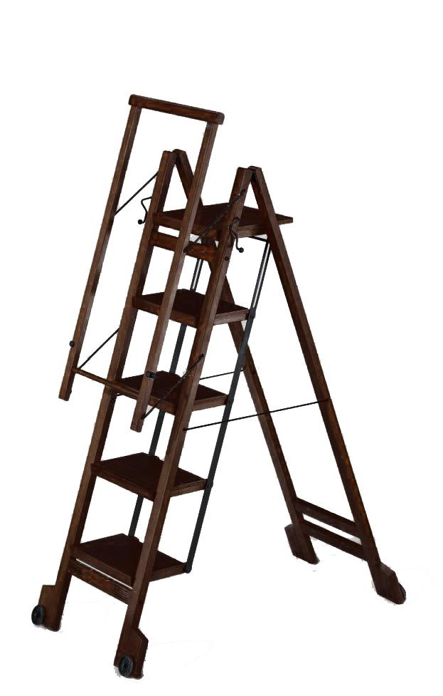 Стул-стремянка деревянная Biblio-5, цвет венге (арт. 915VE)