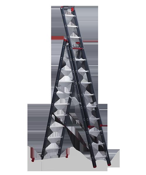 ALTREX Atlantis трехсекционная анодированная лестница 3Х10 ступ. (арт. 119310)