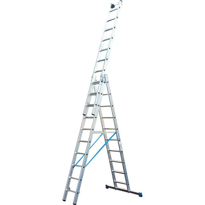 Профессиональная 3-секционная лестница с доп.функцией 3x9 Stabilo Krause