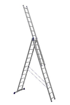 ALUMET Алюминиевая трехсекционная лестница-стремянка 3Х13 ступ. (арт. 6313)