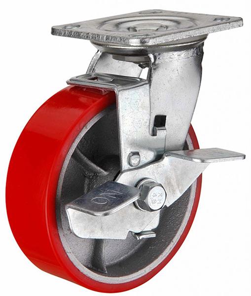 Колесо полиуретановое поворотное, с тормозом серии SCPB - 200 мм. (арт. 590202B)