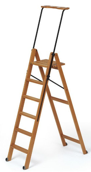 Деревянная лестница-стремянка 6 ступеней Tuscania, вишня (арт. 170/6V)