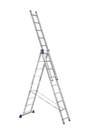 ALUMET Алюминиевая трехсекционная лестница-стремянка 3Х10 ступ. (арт. 5310)