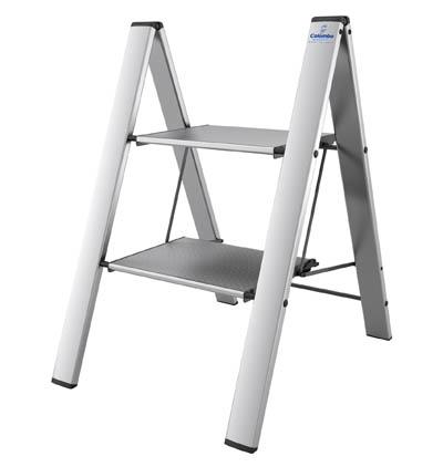 COLOMBO Leonardo Стремянка 2 ступ. (Серебристая) (арт. G300A02W S2)