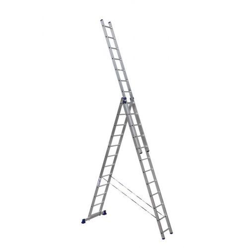Алюминиевая трехсекционная лестница-стремянка 3Х12 ступ.