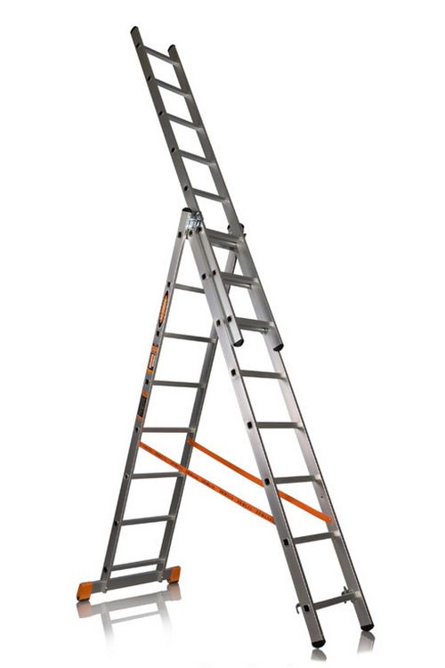 Трехсекционная лестница алюминиевая бытовая Эйфель