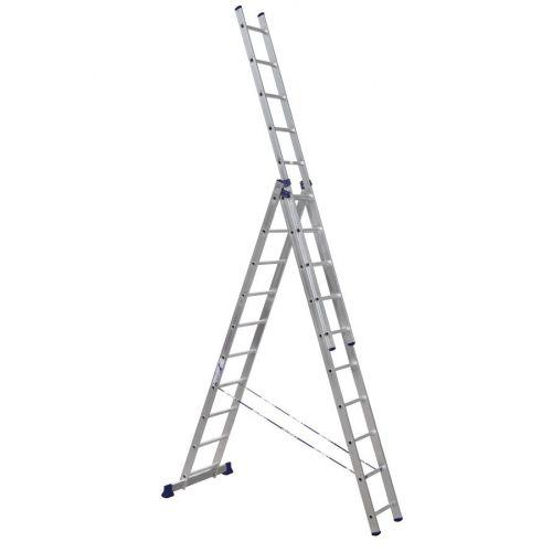 ALUMET Алюминиевая трехсекционная лестница-стремянка 3Х11 ступ. (арт. 5311)