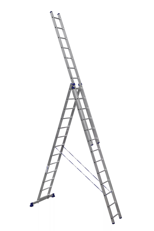 Алюминиевая трехсекционная лестница-стремянка 3Х13 ступ.