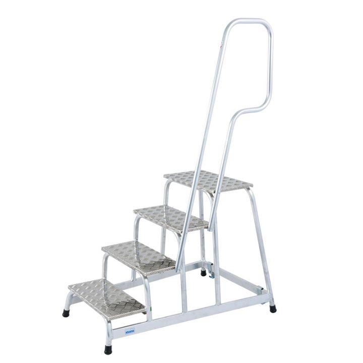KRAUSE Подставка алюминиевая передвижная с поручнем 4 ступ. (арт. 805096)