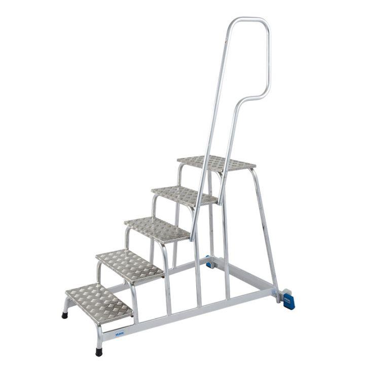 KRAUSE Подставка алюминиевая передвижная с поручнем 5 ступ. (арт. 805102)