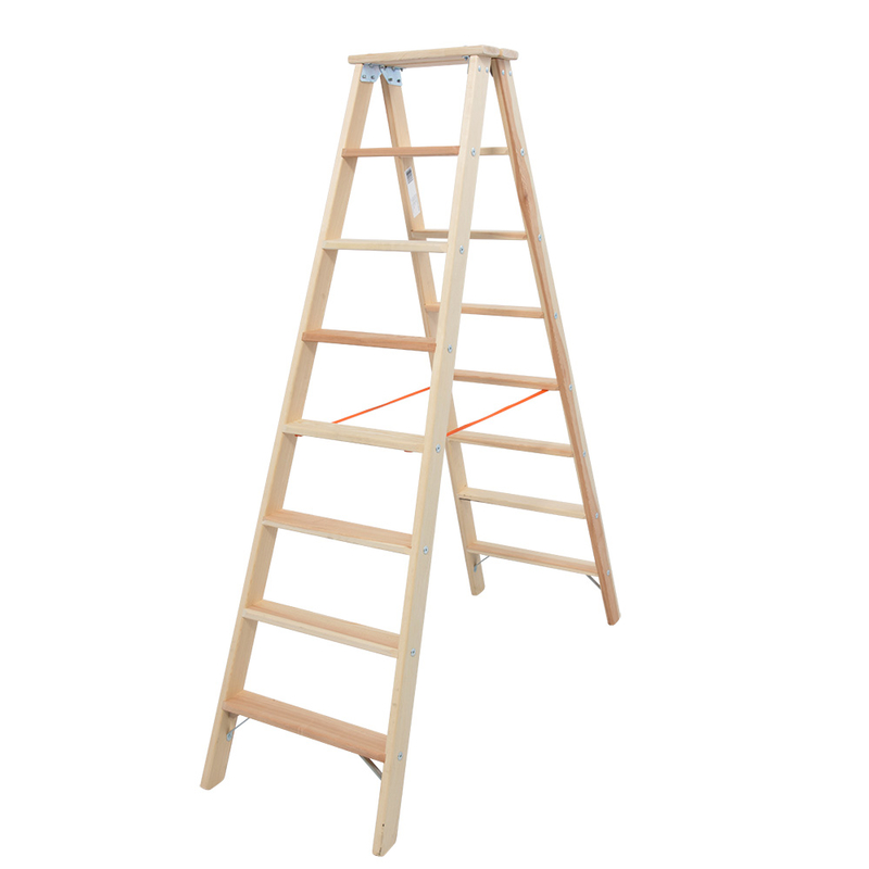 Деревянная лестница-стремянка со ступенями 2х8 Krause