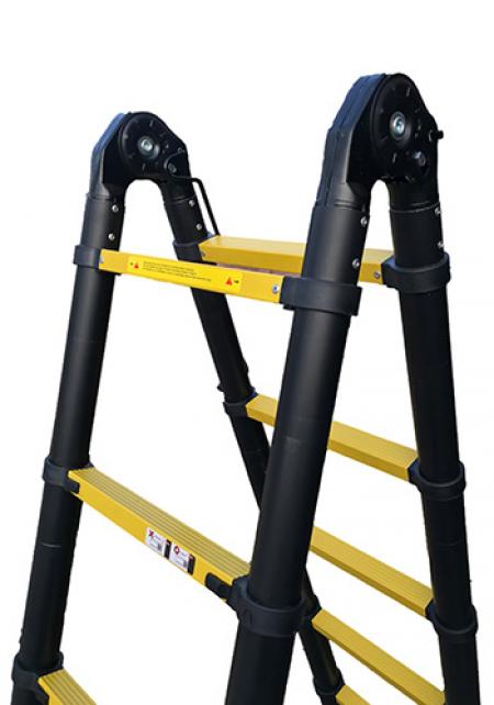 Профессиональная телескопическая лестница-стремянка 6.40м 2х9 ступ.