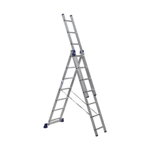 ALUMET Алюминиевая трехсекционная лестница-стремянка 3Х7 ступ. (арт. 5307)