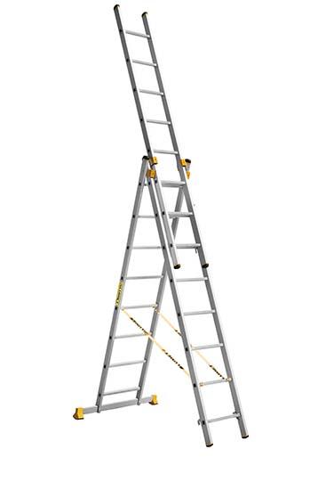 алюминиевая трехсекционная проф. лестница 3Х8 ступ.