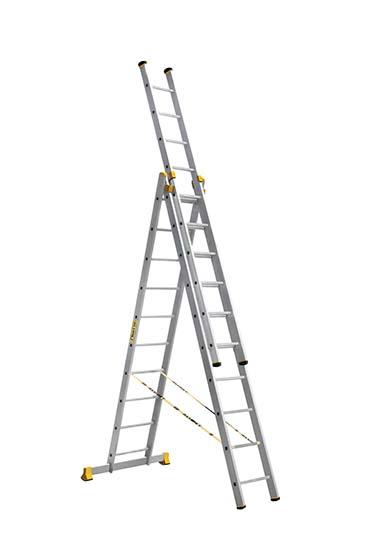 ALUMET Алюминиевая трехсекционная проф. лестница 3Х10 ступ. (арт. 9310)