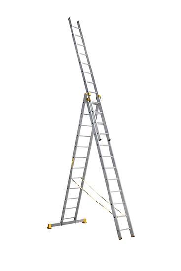 Алюминиевая трехсекционная проф. лестница 3Х12 ступ.