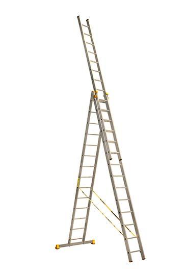 Алюминиевая трехсекционная проф. лестница 3Х14 ступ.