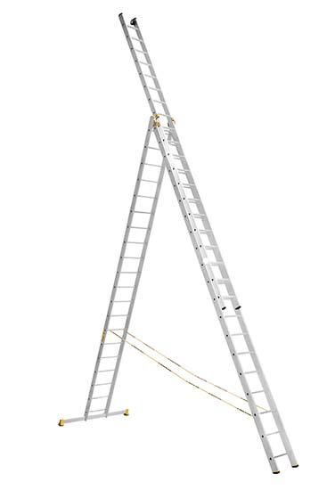 Алюминиевая трехсекционная проф. лестница 3Х20 ступ.
