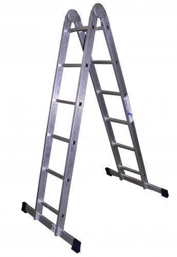 ALUMET Алюминиевая двухсекционная шарнирная лестница 2Х6 (арт. Т206)