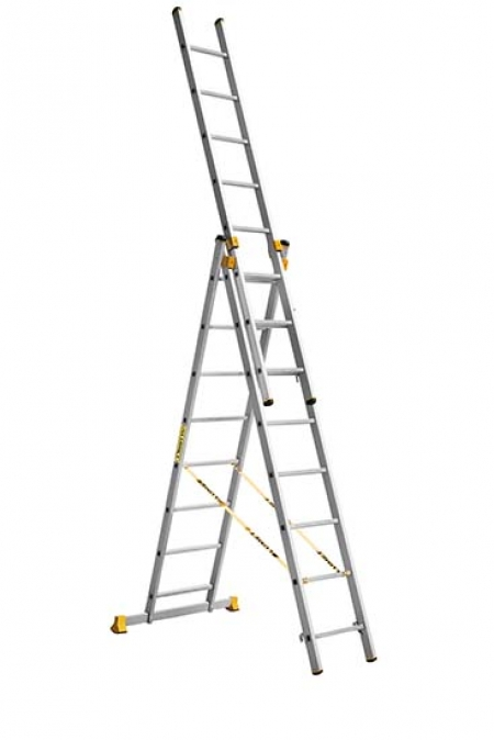 ALUMET Алюминиевая трехсекционная проф. лестница 3Х8 ступ. (арт. 9308)
