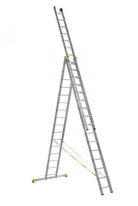 ALUMET Алюминиевая трехсекционная проф. лестница 3Х16 ступ. (арт. 9316)