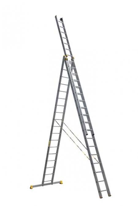 ALUMET Алюминиевая трехсекционная проф. лестница 3Х18 ступ. (арт. 9318)