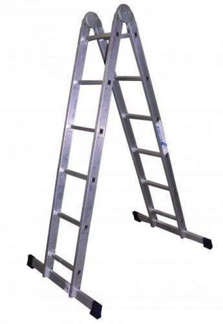 ALUMET Алюминиевая двухсекционная шарнирная лестница 2Х8 (арт. Т208)