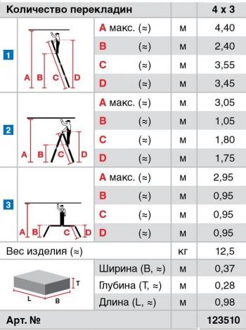 Профессиональная четырехсекционная шарнирная лестница 4х3 Krause Stabilo