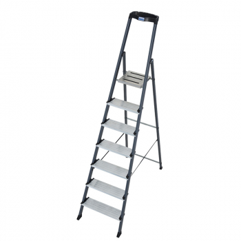 KRAUSE SECURO Анодированная стремянка с широкими ступенями 7 ступ. (арт. 126450)