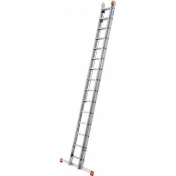 KRAUSE Robilo Лестница двухсекционная выдвигаемая тросом 2Х18 ступ. (арт. 129871) (120670)