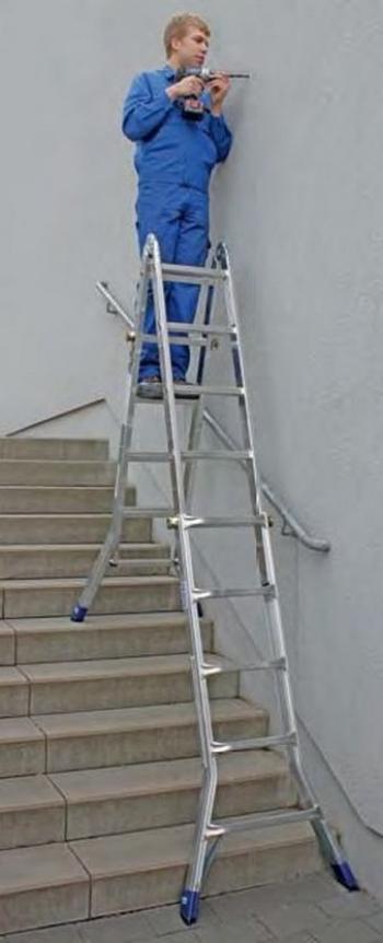 Профессиональная шарнирная телескопическая лестница 4х5 Krause Stabilo