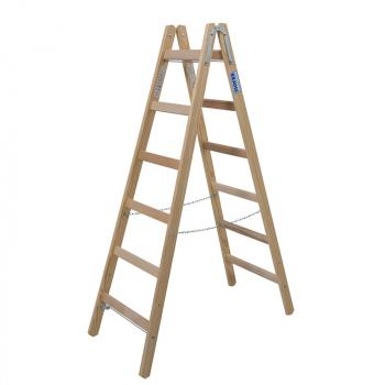 Деревянная лестница-стремянка с перекладинами 2х6 Krause