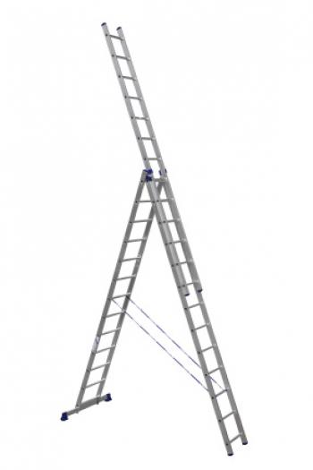 ALUMET Алюминиевая трехсекционная лестница-стремянка 3Х15 ступ. (арт. 6315)