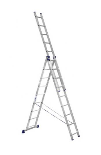 Алюминиевая трехсекционная лестница-стремянка 3Х10 ступ.