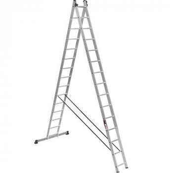 ALUMET Алюминиевая двухсекционная лестница широкий профиль 2Х15 ступ. (арт. 6215)