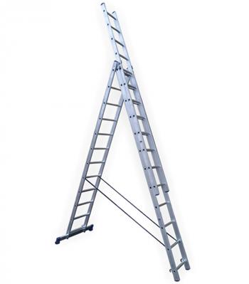 Универсальная трехсекционная лестница с усиленным профилем 3х12 ступеней СТАИРС